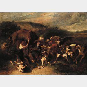 Joseph Urbain Melin (French, 1811-1886)      Hounds in Full Cry