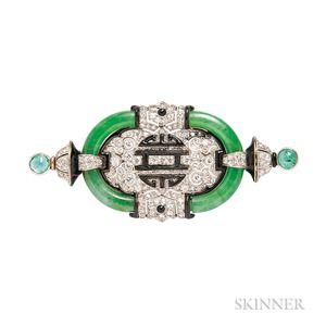 Art Deco Platinum, Jade, and Diamond Brooch