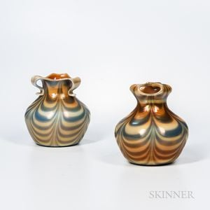 Two Imperial Art Glass Iridescent Vases