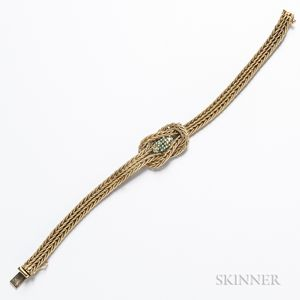 14kt Gold and Emerald Knot Bracelet