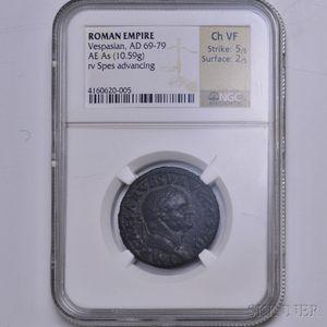 Roman Vespasian As, NGC VF