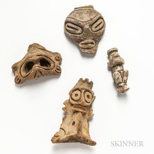 Three Terra-cotta Fragments and a Stone Figure Found in Haiti