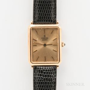 Concord 14kt Gold Mid-size Tank Wristwatch