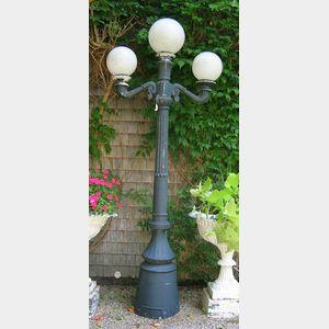 Black Painted Cast Metal Three-Light Post Lamp.