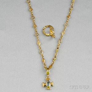18kt Gold and Sapphire Necklace and Earrings, Loree Rodkin