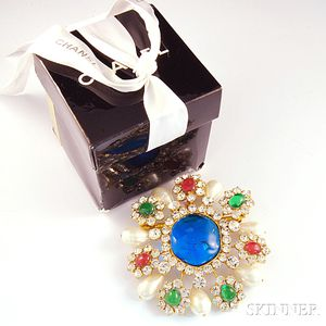 Elaborate Chanel Paste and Pearl Costume Pendant/Brooch