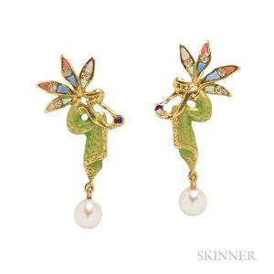 18kt Gold and Enamel Pixie Earrings