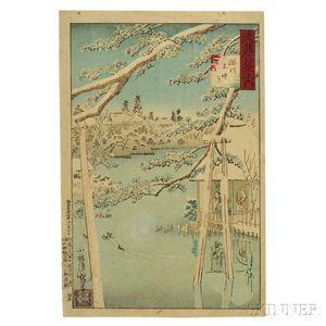 Kobayashi Kiyochika (1847-1915), Benten Shrine in Snow, Fukagawa