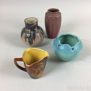 Four Pieces of Rookwood, Van Briggle, and Charles Gréber Pottery
