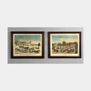 Haskell & Allen, publishers (Boston, 19th Century)  Lot of  Two Lithographs,   Leaving Brighton Hotel for the Mill-dam