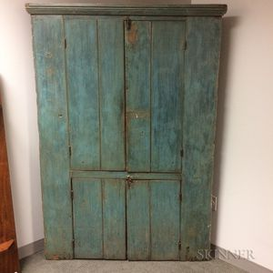Country Blue-painted Pine Corner Cupboard