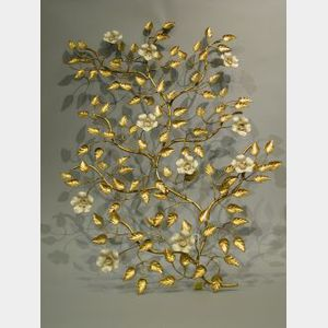Gilt Metal Floral Wall Ornament.