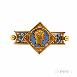 Antique 18kt Gold and Micromosaic Brooch
