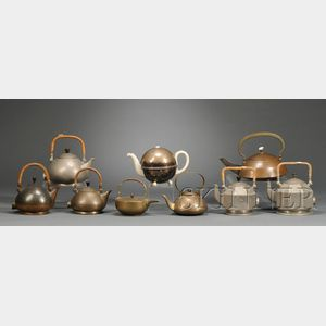Nine Arts & Crafts and Art Deco TeaKettles and Pots