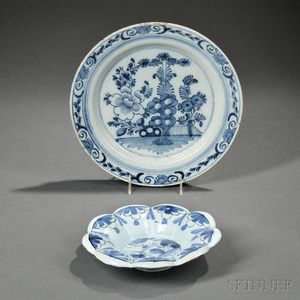 Two Dutch Delft Blue and White Dishes