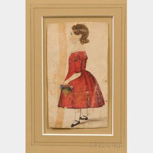 American School, 19th Century      Portrait Miniature of a Girl Wearing a Red Dress Holding a Basket of Flowers.