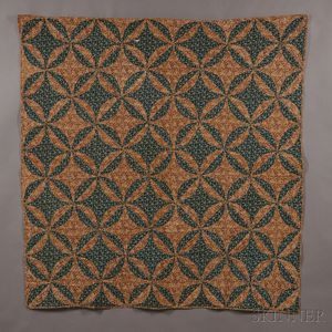 """Hand-stitched Pieced Cotton """"Rob Peter to Pay Paul"""" Pattern Quilt"""