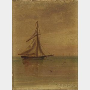 American School, 19th Century      Seascape with Sailboat and Seagulls