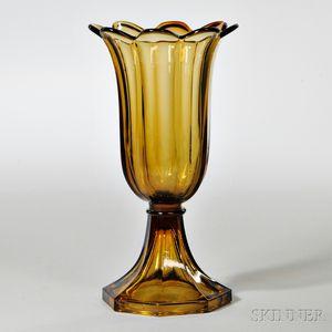 Amber Pressed Glass Tulip Vase