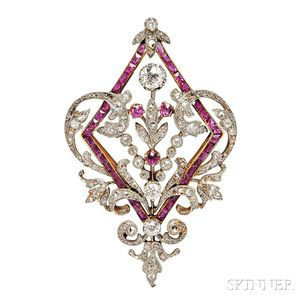 Edwardian Ruby and Diamond Pendant/Brooch