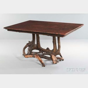 Adirondack-style Marble-top Root Table