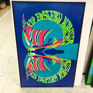 """Three Framed """"Fly Eastern Airlines"""" Psychedelic Posters"""