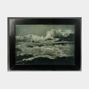 Attributed to Martha Hale Harvey (American, 1862-1949)      Turbulent Sea Against a Rocky Shore.