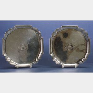 Harlequin Pair of Silver Salvers