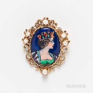 14kt Gold, Limoges Enamel, and Cultured Pearl Pendant/Brooch
