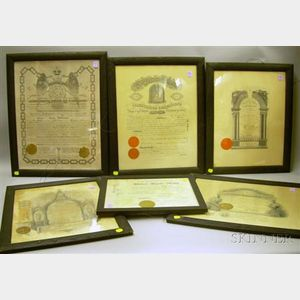 Six Framed Lithograph 1911-1916 Fraternal Certificates
