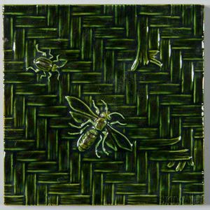 Insect Decorated Pottery Tile