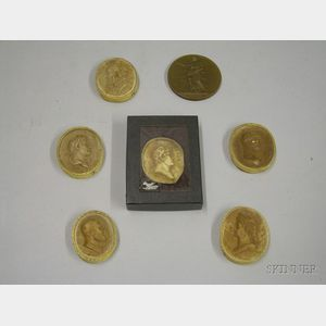 Six Classically Profile Plaster Molds and Bronze Medal