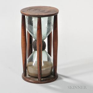 Wood and Glass Ship's Fifteen-minute Sandglass