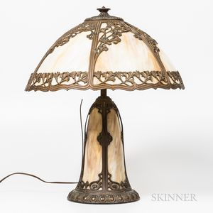 Slag Glass and Brass Lamp
