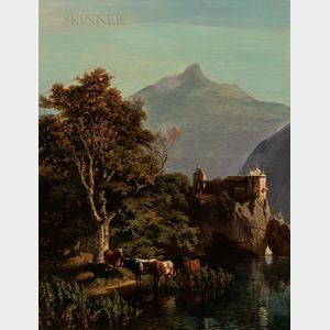 Wilhelm Theodor Nocken (German, 1830-1905)      Cows Watering Near a Cliffside Castle