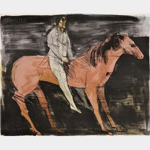 Leonard Baskin (American, 1922-2000)      Scout - Man on Horse