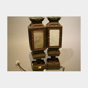 Pair of Chinese Painted Wood Table Lanterns.