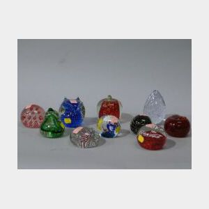 Ten Trapped-Bubble Glass Paperweights