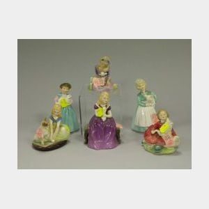 Six Royal Doulton Ceramic Figures with Animals