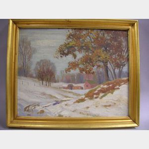 Framed Oil on Artist's Board of a Winter Landscape