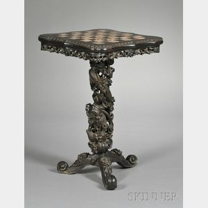 Marble-inset Rosewood Chess Table