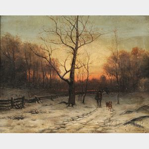 Continental School, 19th Century      Winter Path with Man and Dog at Sunset