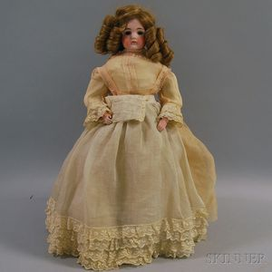 Closed-mouth German Bisque Shoulder Head Doll