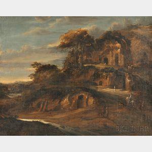 School of Horatius de Hooch (Dutch, d. 1686)      Travellers in a Mountainous Wooded Landscape