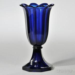 Dark Blue Pressed Glass Tulip Vase