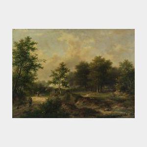 Hendrik Pieter Koekkoek (Dutch, 1843-1927)  Travelers on a Country Lane