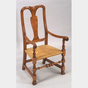 Queen Anne Maple Carved Spanish Foot Armchair