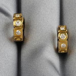 """18kt Gold and Diamond """"Huggie"""" Earclips, Penny Preville"""