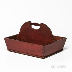 Red-painted Shaker Cutlery Tray