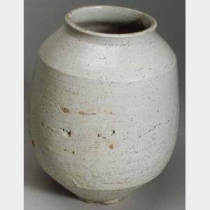 Korean Glazed Stoneware Storage Jar.